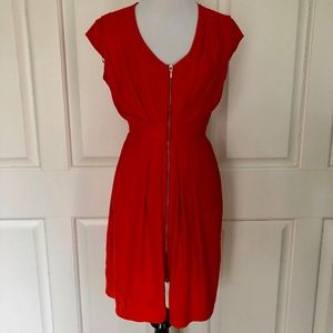 TOMATO ORANGE RED FRONT ZIP PLEATED RUCHED DRESS